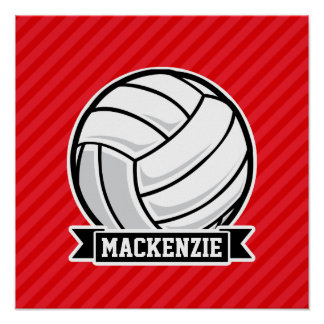 Volleyball on Red Diagonal Stripes Poster