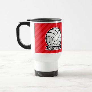 Volleyball on Red Diagonal Stripes Travel Mug