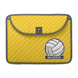 Volleyball on Yellow Stripes Sleeves For MacBooks