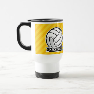 Volleyball on Yellow Stripes Mugs