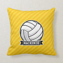 Volleyball on Yellow Stripes Throw Pillow