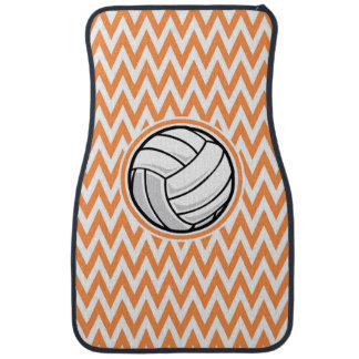 Volleyball; Orange and White Chevron Car Mat
