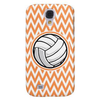 Volleyball; Orange and White Chevron Galaxy S4 Cover