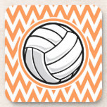 Volleyball; Orange and White Chevron Coasters