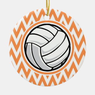 Volleyball; Orange and White Chevron Double-Sided Ceramic Round Christmas Ornament