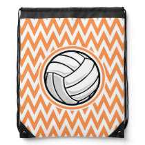 Volleyball; Orange and White Chevron Drawstring Backpack