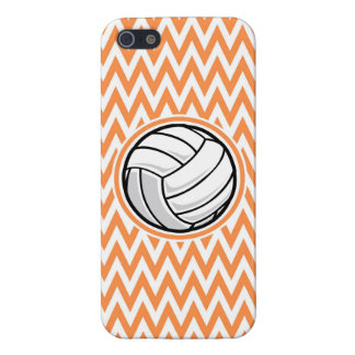 Volleyball; Orange and White Chevron Covers For iPhone 5