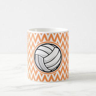 Volleyball; Orange and White Chevron Mugs
