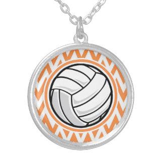 Volleyball; Orange and White Chevron Necklace