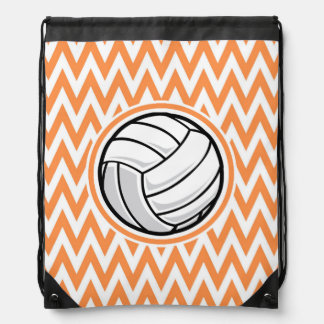 Volleyball; Orange and White Chevron Backpack