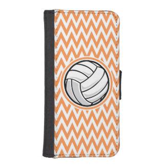 Volleyball; Orange and White Chevron Phone Wallet Case