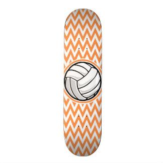 Volleyball; Orange and White Chevron Skate Deck