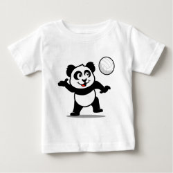 Baby Fine Jersey T-Shirt with Cute Volleyball Panda design