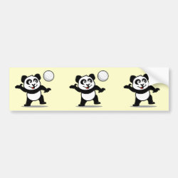 Bumper Sticker with Cute Volleyball Panda design