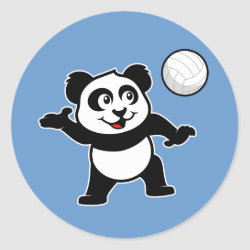Round Sticker with Cute Volleyball Panda design