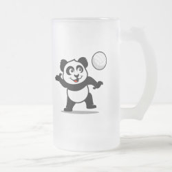 Frosted Glass Mug with Cute Volleyball Panda design