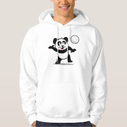 Men's Basic Hooded Sweatshirt with Cute Volleyball Panda design