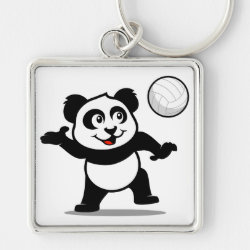 Cute Volleyball Panda Premium Square Keychain