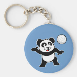 Basic Button Keychain with Cute Volleyball Panda design