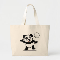 Jumbo Tote Bag with Cute Volleyball Panda design