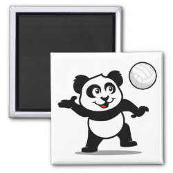 Square Magnet with Cute Volleyball Panda design