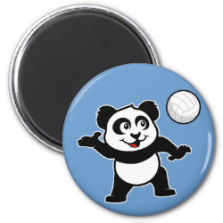 Cute Volleyball Panda Round Magnet