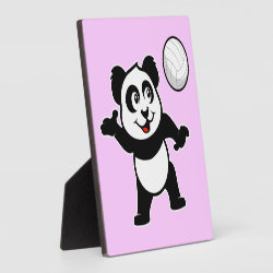 Photo Plaque 5.25' x 5.25' with Easel with Cute Volleyball Panda design