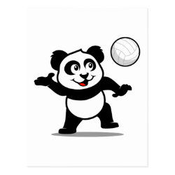 Postcard with Cute Volleyball Panda design