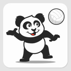Square Sticker with Cute Volleyball Panda design