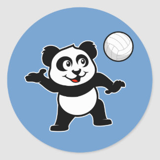 Volleyball Panda Classic Round Sticker