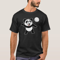 Men's Basic Dark T-Shirt with Cute Volleyball Panda design