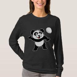 Women's Basic Long Sleeve T-Shirt with Cute Volleyball Panda design