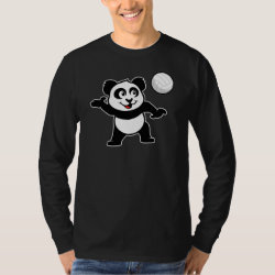 Men's Basic Long Sleeve T-Shirt with Cute Volleyball Panda design