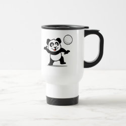 Travel / Commuter Mug with Cute Volleyball Panda design