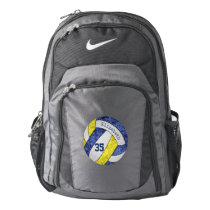 volleyball player backpack blue yellow team colors