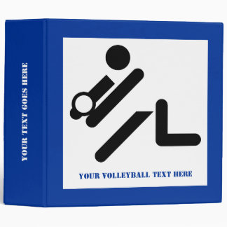 Volleyball player black, white, blue icon custom 3 ring binders
