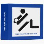 Volleyball player black, white, blue icon custom 3 ring binder
