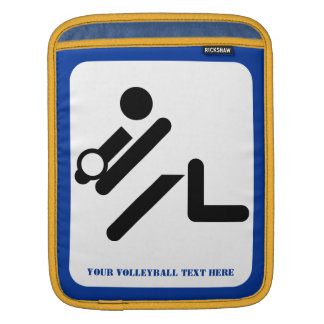 Volleyball player black, white, blue icon custom iPad sleeves