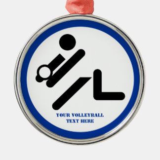 Volleyball player black, white, blue icon custom christmas tree ornaments