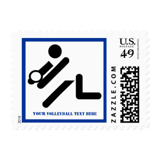 Volleyball player black, white, blue icon custom postage stamp