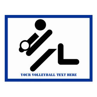 Volleyball player black, white, blue icon custom postcard