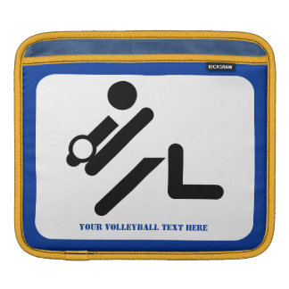 Volleyball player black, white, blue icon custom sleeve for iPads