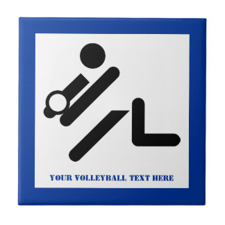 Volleyball player black, white, blue icon custom tile
