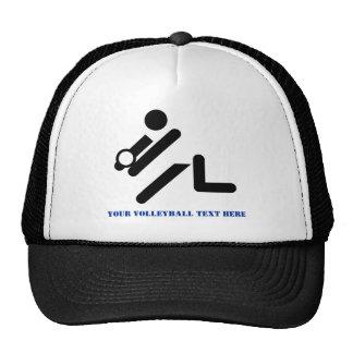 Volleyball player black, white, blue icon custom trucker hat