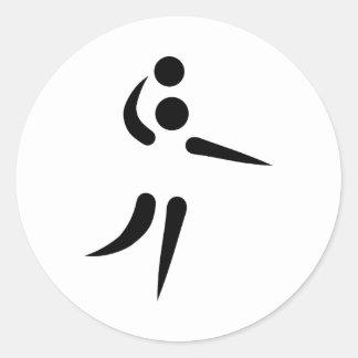 Volleyball player icon classic round sticker
