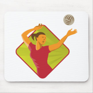 Volleyball Player Spike Ball Retro Mouse Pad