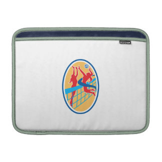 Volleyball Player Spiking Ball Blocking Oval Sleeves For MacBook Air