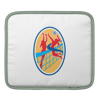 Volleyball Player Spiking Ball Blocking Oval iPad Sleeves