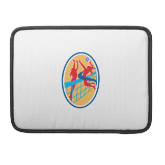 Volleyball Player Spiking Ball Blocking Oval Sleeves For MacBooks