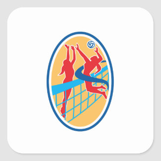 Volleyball Player Spiking Ball Blocking Oval Square Sticker